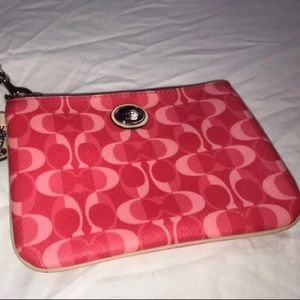 Coach pink and red Wristlet wallet